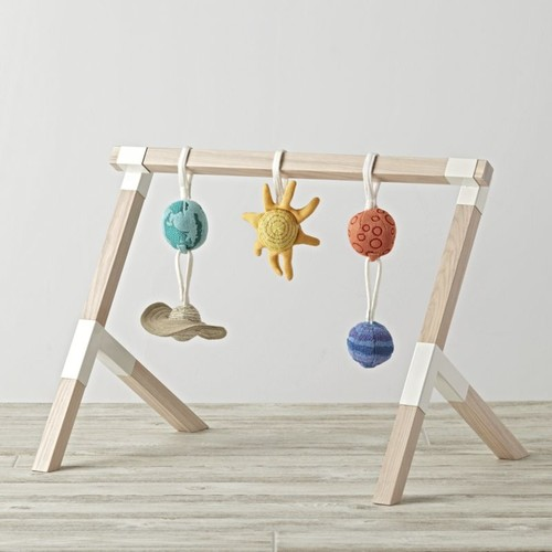 Modern Baby Gym With Solar System Rattles, Set of 5