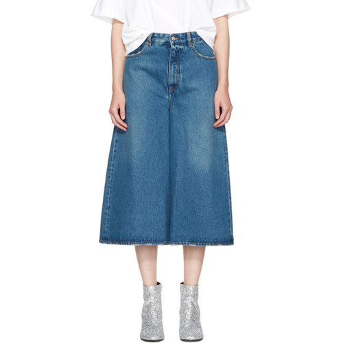 MM6 MAISON MARTIN MARGIELA Indigo Cropped Wide-Leg Jeans