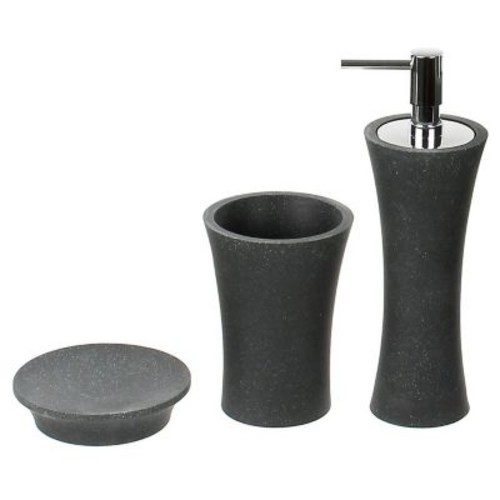 Gedy by Nameeks Aucuba 3-Piece Bathroom Accessory Set; Black