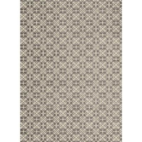 Ruggable Washable Floral Tiles Rich Grey 5 ft. x 7 ft. Stain Resistant Area Rug