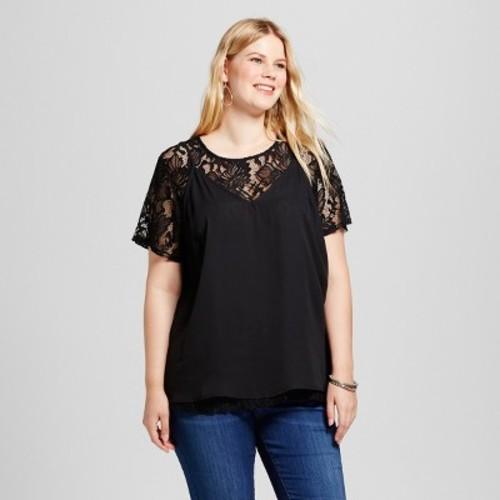 Women's Plus Size Lace Cami Twofer Top - Ava & Viv Black