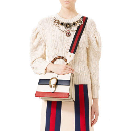 GUCCI Embroidered Wool-Cashmere Top, Natural White