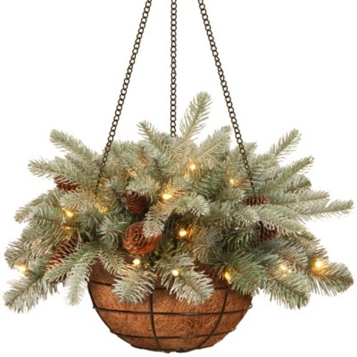 20 inch Frosted Arctic Spruce Hanging Basket with Battery Operated Warm White LED Lights