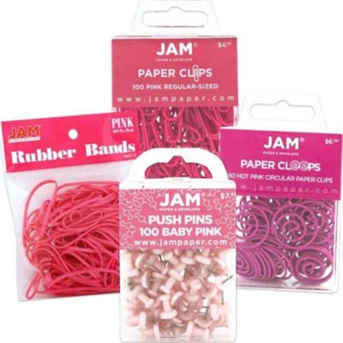 JAM Paper Office Supply Assortment, 1 pack Rubber Bands, Push Pins, Paper Clips, Round Paperclips, Pink, 4/pack (3224PIOASRT)