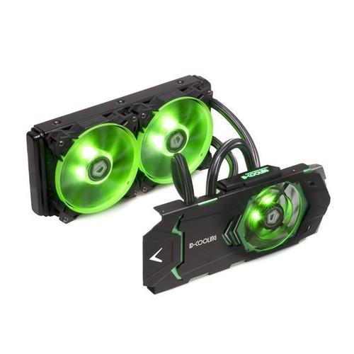 ID-COOLING ICEKIMO 240VGA Integrated AIO Water Cooler GTX1080/1070/1060 VGA Card, 240mm Radiator,2*120mm Green LED Fans, Copper Base & Aluminum Heatsink, Quiet 90mm Fan over GPU Board, Nvidia & ATI