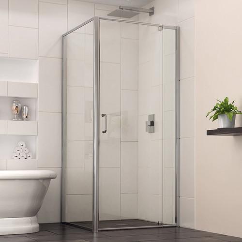 Dreamline Flex 34.5 in. D x 32.4375 - 36.4375 in. W x 72 in. H Frameless Pivot Shower Door, Clear Glass