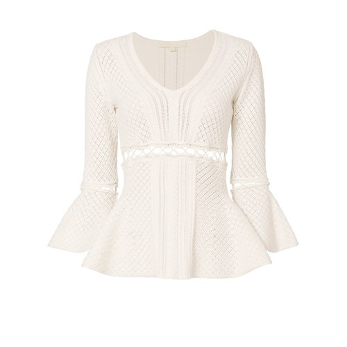 JONATHAN SIMKHAI Lace-Up Knit Peplum Top