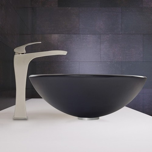 VIGO Sheer Black Frost Glass Vessel Sink and Blackstonian Faucet Set in Brushed Nickel Finish