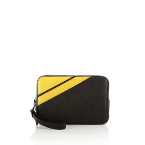 SALVATORE FERRAGAMO Textured Calfskin Leather Clutch
