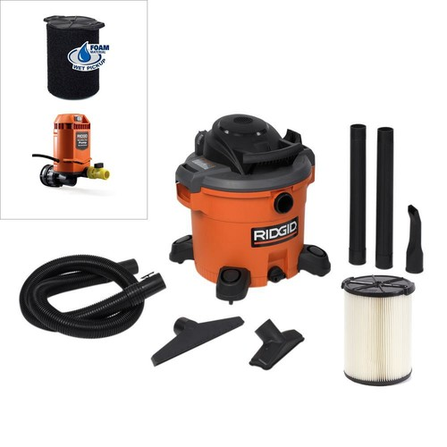 RIDGID 12 Gal. 5.0-Peak HP Wet Dry Vac with Pump Attachment and Wet Filter