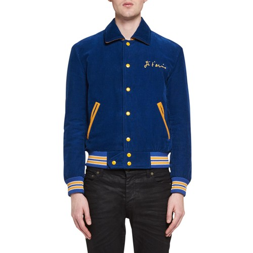 SAINT LAURENT Je T'Aime Teddy Corduroy Bomber Jacket, Blue