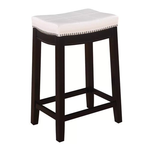 Linon Claridge Patches Vinyl Counter Stool; White