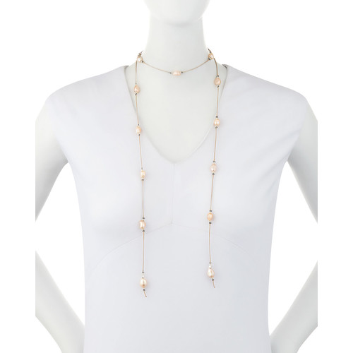 Nakamol Baroque Pearl Suede Lariat Choker Necklace