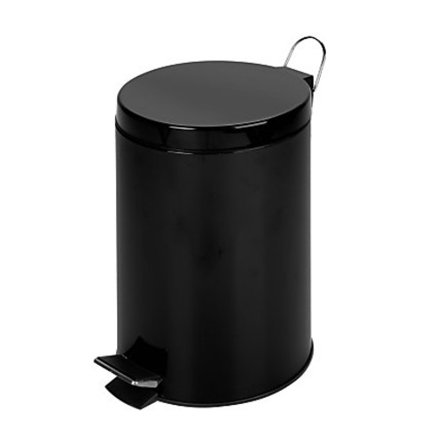 Honey-Can-Do Steel Step Trash Can, 3.2 Gallons, Matte Black