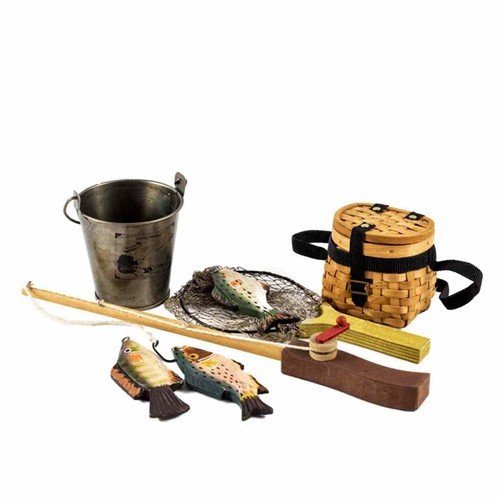 Doll Fishing Adventure Set (Fishing Pole, Net, Pail and 3 Fish) For 18 Inch Girl Dolls like American Girl. Great for Exploring and Outdoor Fun. 18 Inch Doll Clothing and Accessories.