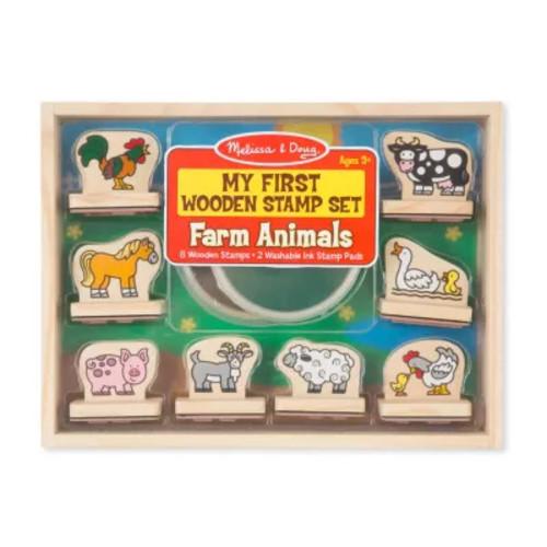 Melissa & Doug My First Wooden Stamp Farm Animals Set