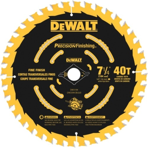 DeWalt 7-1/4 in. Dia. 40 teeth Carbide Tip Circular Saw Blade For Finish(DW3194)