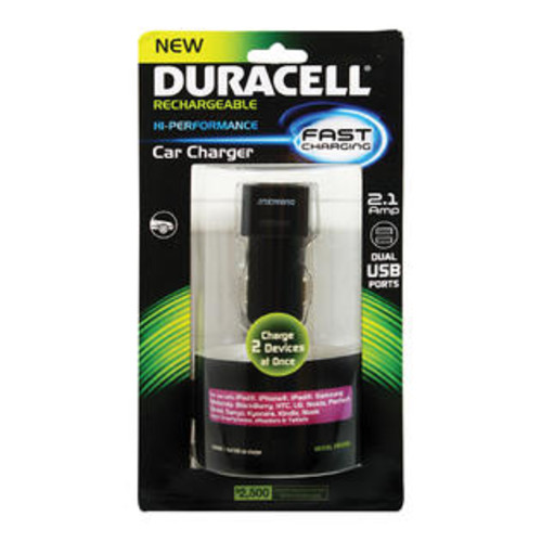 Duracell PRO208 Dual USB Car Charger - Black