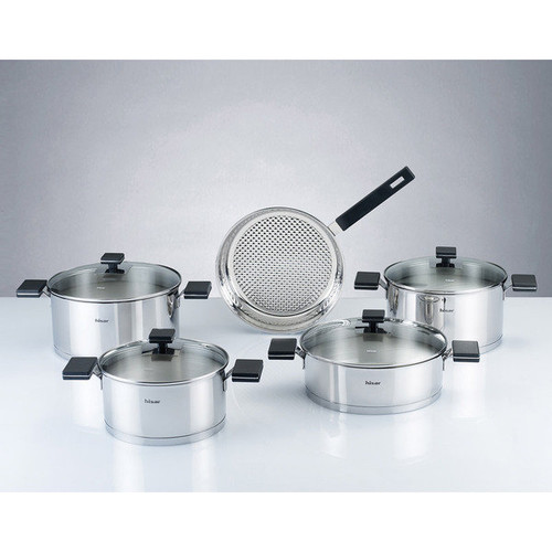 Milan Black and Silvertone Stainless Steel 9-piece Cookware Set by Hisar