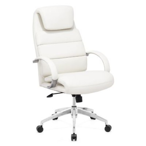 Zuo Lider Comfort High-Back Leatherette Executive Chair, Fixed Arms, White