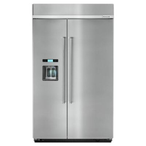 KitchenAid 48 in. W 29.5 cu. ft. Built-in Side by Side Refrigerator in Stainless Steel