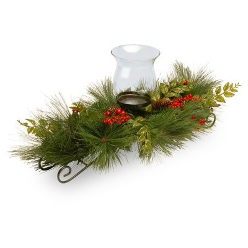 National Tree Company 30in Mixed Bristle Pine Single Cup Candle Holder