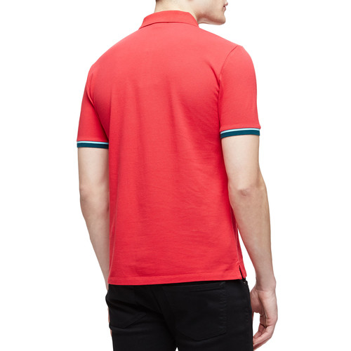 BURBERRY BRIT Short-Sleeve Tipped Pique Polo Shirt, Red