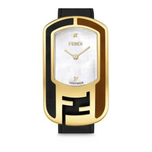 Chameleon Diamond, Mother-Of-Pearl, Goldtone stainless Steel & Leather Strap Watch/Black