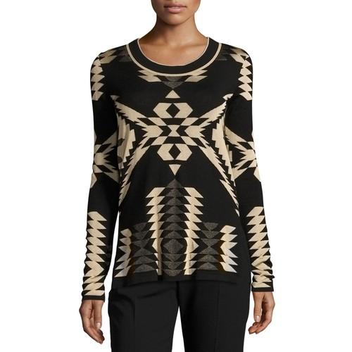 RALPH LAUREN COLLECTION Geometric Jacquard Tunic Sweater, Black