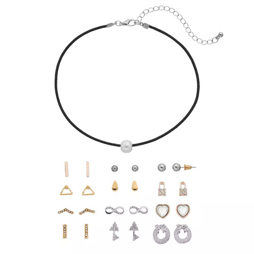 Mudd Simulated Pearl Choker Necklace & Stud Earring Set