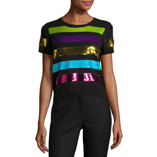 MARC JACOBS Sequin-Striped Short-Sleeve Sweater, Black