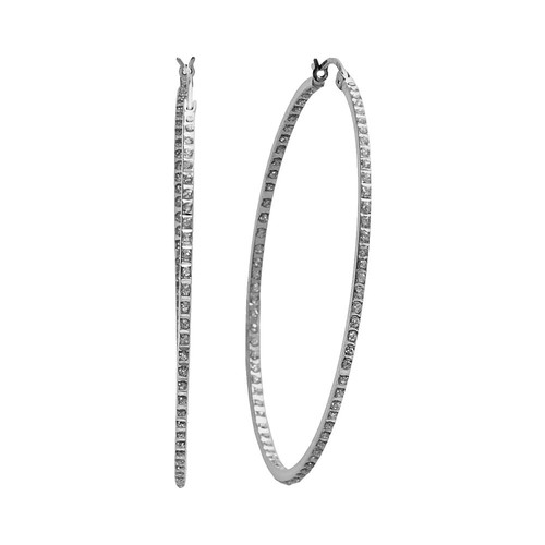 Diamond Mystique Sterling Silver Diamond Accent Round Hoop Earrings