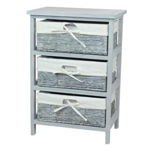 Rustic Gray Wooden Storage Cabinet Chest with 3 Fabric Lined Maize Basket Style Drawers - Rustic Gray - Vintiquewise