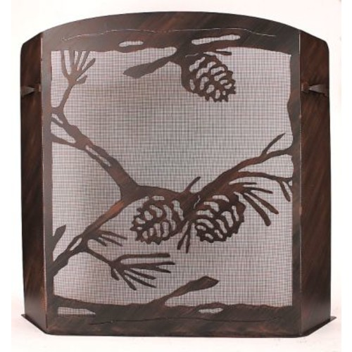 Coast Lamp Mfg. Pine Cone Scene Wrought Iron Fireplace Screen