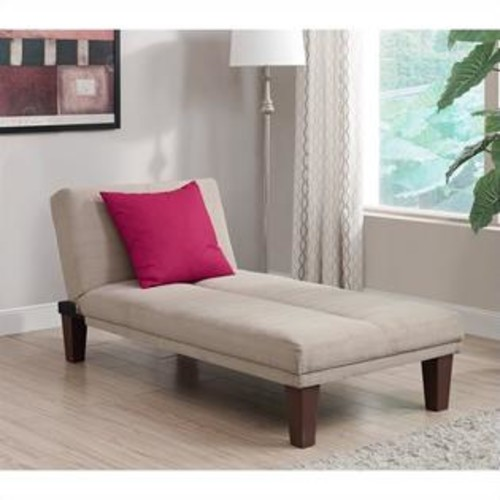 Dorel DHP Dillan Upholstered Chaise Lounge in Tan Microfiber