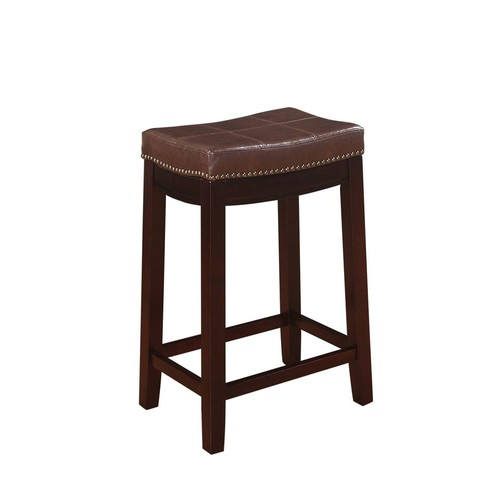 Linon Claridge Patches Counter Stool in Brown
