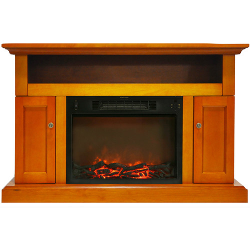 Cambridge Sorrento Fireplace Mantel with Electronic Fireplace Insert, Teak