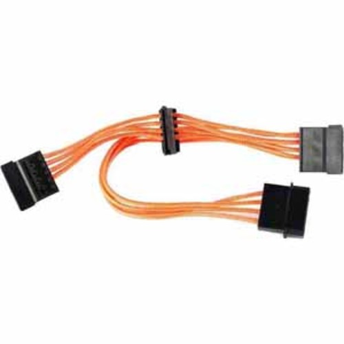 Raidmax 4 Pin Molex Male to 3 SATA Female Cable Premium Individually Sleeved - Orange