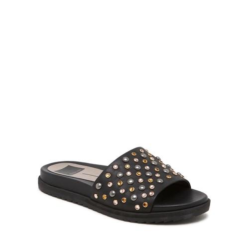 Women's Embellished Leather Platform Pool Slide Sandals