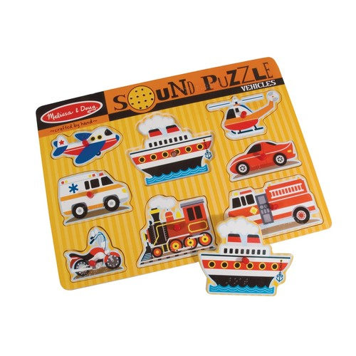 Melissa & Doug Sound Puzzle with Braille Pieces- Vehicles