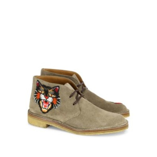 GUCCI Moreau Embroidered Suede Chukka Boots