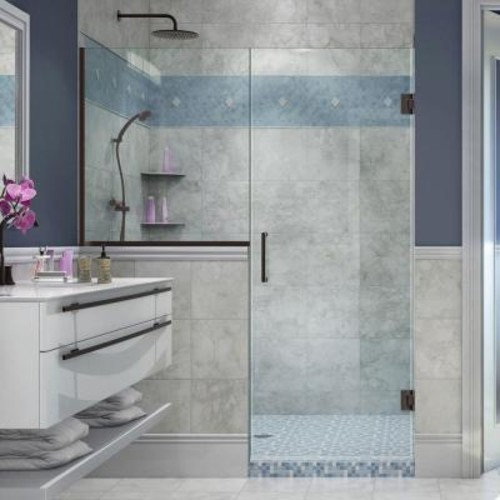 DreamLine Unidoor Plus 59 in. to 59-1/2 in. x 72 in. Frameless Pivot Shower Door in Oil Rubbed Bronze with Buttress Panel