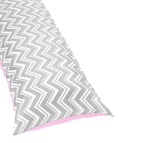 Sweet Jojo Designs Zig Zag Reversible Body Pillow Cover in Pink/Grey