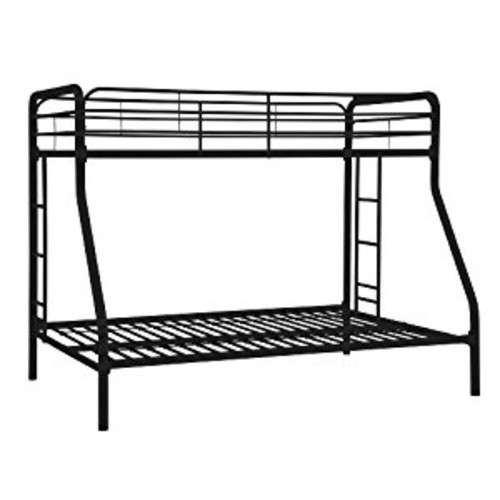 DHP Twin-Over-Full Bunk Bed with Metal Frame and Ladder, Space-Saving Design, Black [Black]