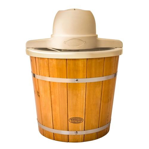 4-Quart Plastic Bucket with Wood Slats Electric Ice Cream Maker