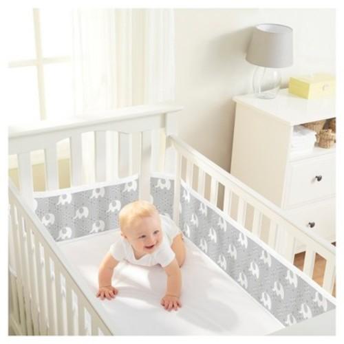 BreathableBaby Mesh Crib Liner - Peaceful Elephant - Gray
