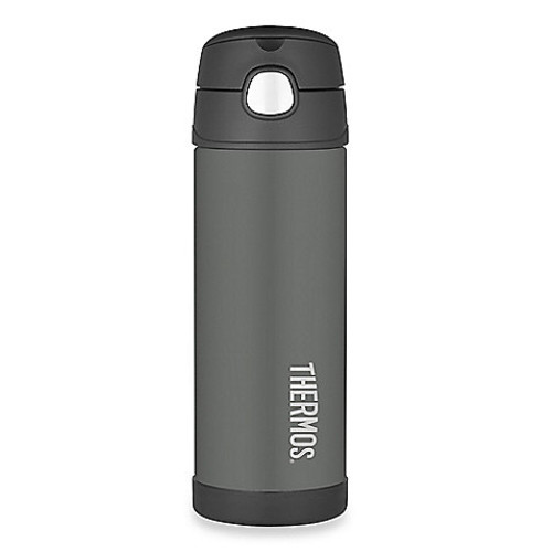 Thermos 16 oz. Stainless Steel Straw Bottle in Charcoal Grey