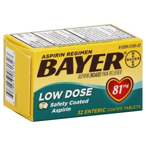 Bayer Aspirin, Low Dose, 81 mg, Enteric Coated Tablets, 32 tablets