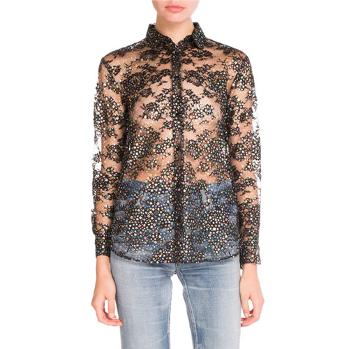 SAINT LAURENT Glittered Star-Print Sheer Blouse, Black