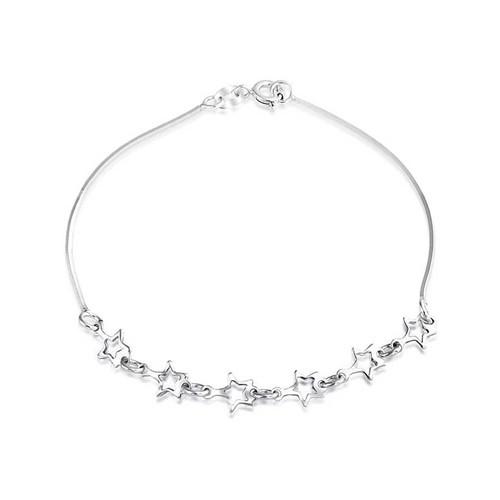 Bling Jewelry Sterling Silver Open Star Charm Bracelet Patriotic Jewelry